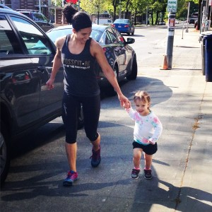 BeckyJo running with her daughter